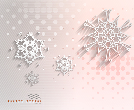 Paper snowflakes Christmas geometric background Vector