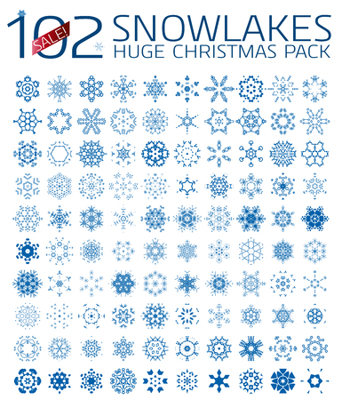 102 abstract Christmas snowflakes. Huge icon set isolated on white Vector