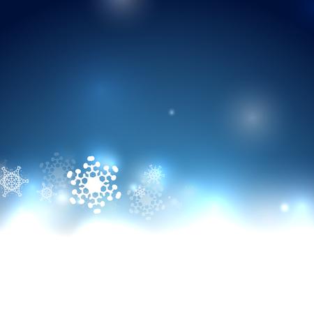 Blue Christmas bokeh snowflake vector background Illustration