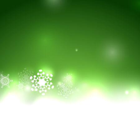 Vector green Christmas card bokeh and snowflakes