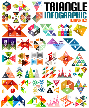 Geometric shape infographic template set - triangles, squares, abstract shapes. For banners, business backgrounds, presentations Ilustração