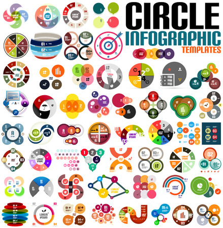 Huge modern circle infographic design template set. For banners, business backgrounds, presentations