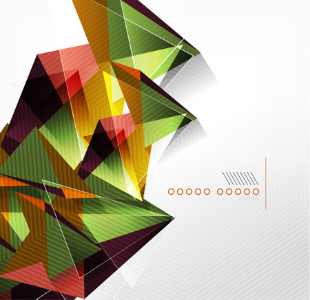 clear out: Vector green and orange triangle geometric shape background Illustration