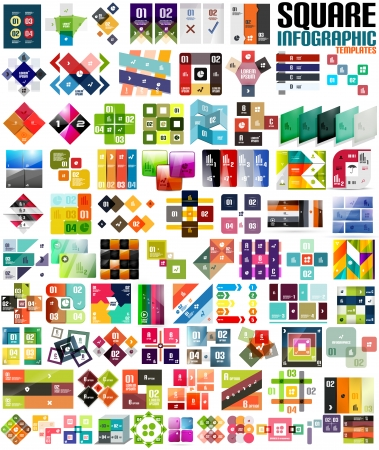 Big set of infographic modern templates - squares. Geometric shapes.  For banners, business backgrounds, presenations Vector