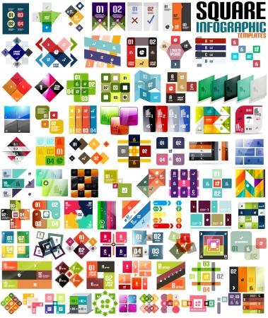 business backgrounds: Grande insieme di modelli moderni infographic - piazze. Forme geometriche. Per i banner, sfondi aziendali, presenations Vettoriali