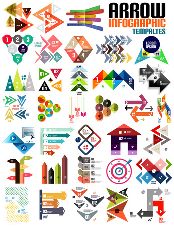Set of geometric shape arrow info templates for templates, technology, presentation, banner, layout Vector