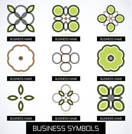 Abstract business green geometric symbols icon set Stock Vector - 24470533