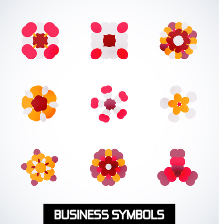 Abstract colorful geometric business symbols. Icon set Vector