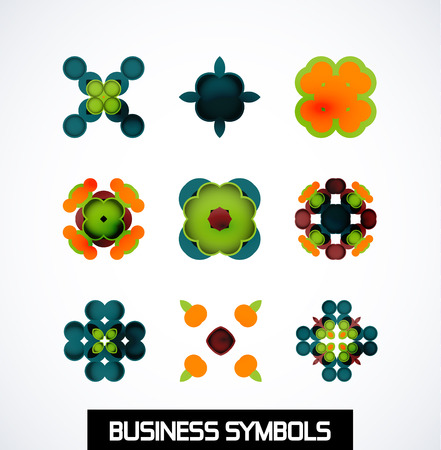 Colorful geometric business symbols. Icon set Stock Vector - 24553539