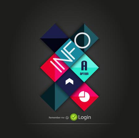 Cuadrados brillantes botones de opción vector de fondo del negocio   banderas numeradas   líneas de negocio   diseño web gráfico vectorial