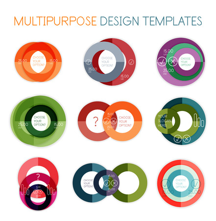 Collection of circle shaped multipurpose business design templates Vector