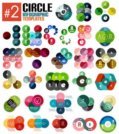 Huge set of circle infographic templates #2 for business background | numbered banners | business lines | graphic website Vector