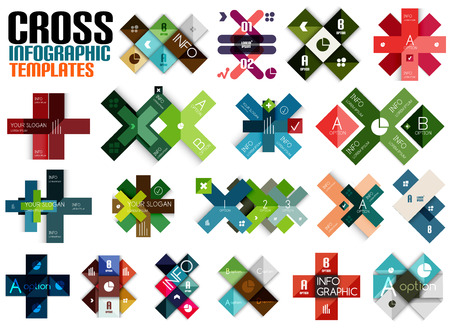 Huge set of cross infographic templates #2 for business background | numbered banners | business lines | graphic website Vector