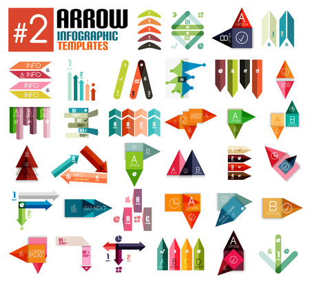Huge set of arrow infographic templates #2 for business background | numbered banners | business lines | graphic website Vector