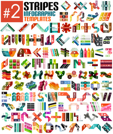 Huge set of stripe infographic templates #2 for business background | numbered banners | business lines | graphic website Illustration