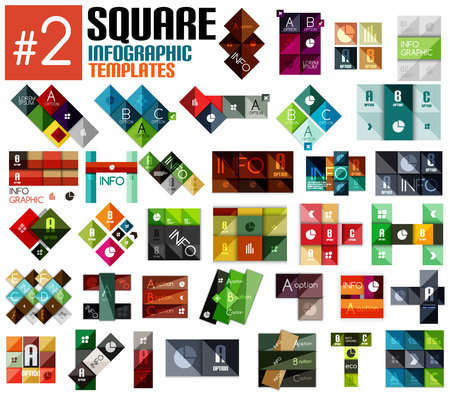 Huge set of square infographic templates #2 for business background | numbered banners | business lines | graphic website Vector
