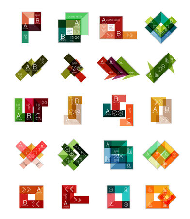 Geometric shaped infographic templates collection. Multipurpose vector set Vector