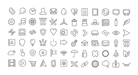 Web line icon set. Universal thin icons Vector