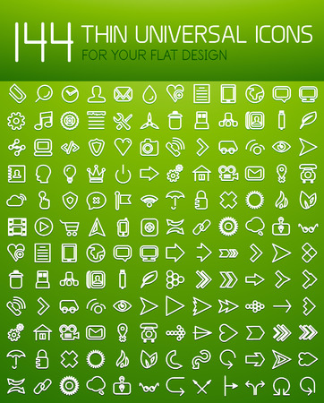 Large collection of thin universal web icon set for your flat design Illustration