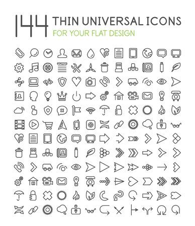 ios: 144 mince universel web jeu d'ic�nes pour votre design plat isol� sur blanc