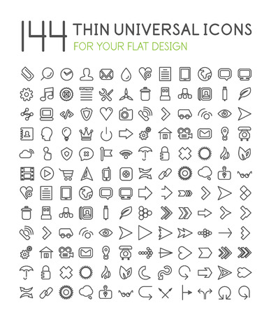 universal: 144 thin universal web icon set for your flat design isolated on white Illustration