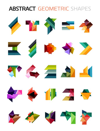 Set of colorful abstract geometric shapes isolated on white