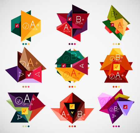 Collection of modern business infographic templates made of abstract geometric shapes Vector