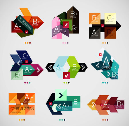 Collection of modern business infographic templates made of abstract geometric shapes. Option banners mega set Vector