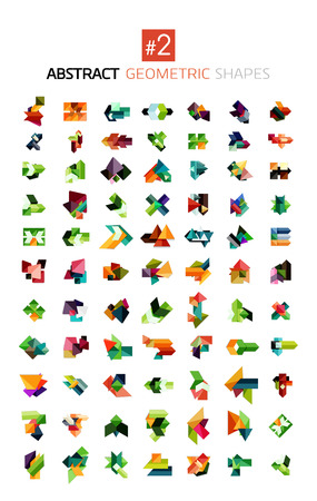 Set of colorful abstract geometric shapes isolated on white. For business designs, symbols, banners. Vector
