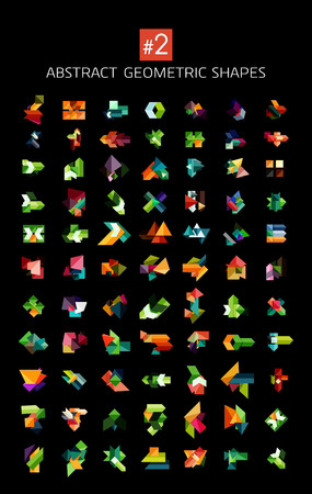 Set of colorful abstract geometric shapes isolated on black. For business designs, symbols, banners. Vector