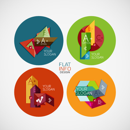 Flat infographic banner design concepts in circle. Can be used as infographic template, business card design, abstract geometric symbols, multipurpose web elements, mobile app templates Vector