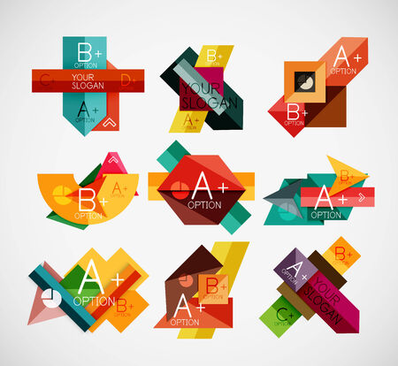 Geometrical shaped infographic concept set. Can be used as infographic template, business card design, abstract geometric symbols, multipurpose web elements, mobile app templates Vector