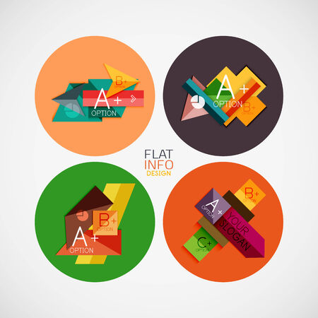 Flat infographic design concept set. Geometrical shaped blank templates with sample text. Can be used as infographic template, business card design, abstract geometric symbols, multipurpose web elements, mobile app templates Vector