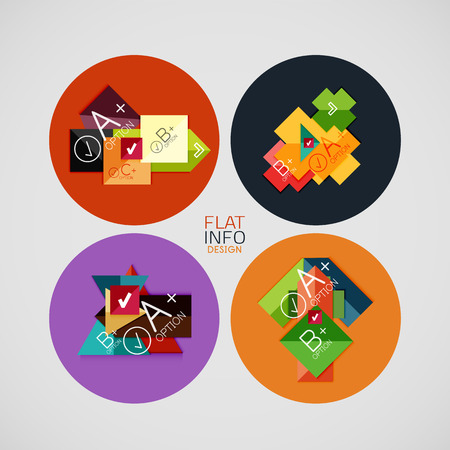 Flat infographic design concept set. Geometrical shaped blank templates with sample text. Can be used as infographic template, business card design, abstract geometric symbols, multipurpose web elements, mobile Vector