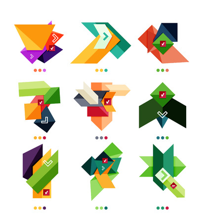 Collection of abstract colorful geometric shapes isolated on white. For business background | numbered banners | business lines | graphic website Vector