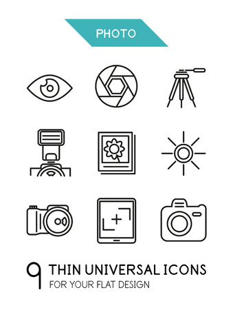 Collection of photo trendy thin line icons for your flat design isolated on white Stock Vector - 26327422