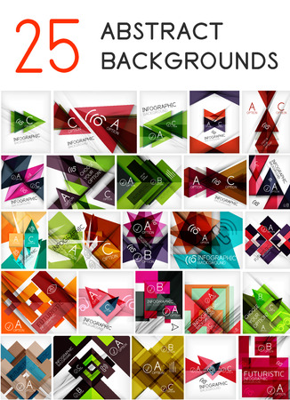 Mega set of paper geometric backgrounds - 25 design templates. For business background | numbered banners | business lines | graphic website Vector
