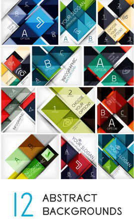 Mega collection of square shape abstract background - 12 design templates. For business background   numbered banners   business lines   graphic website Vector