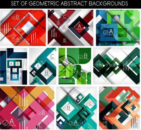 Mega set of paper geometric backgrounds.  Vector