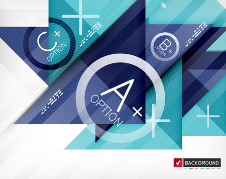 Business geometric infographic poster. Paper geometric shapes with options and space for text. Can be used for web banners, printed materials, business presentations Vector