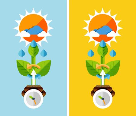 crecimiento planta: Dise�o plano el concepto de naturaleza - el crecimiento de la planta. Puede ser utilizado para las banderas del Web, materiales impresos