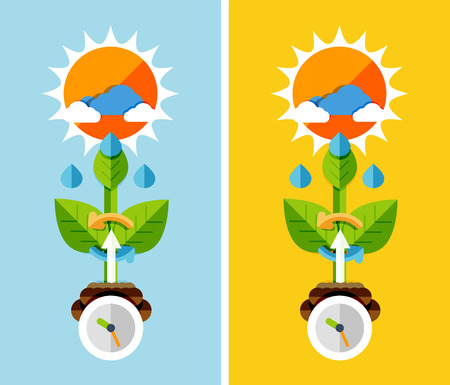 spring water: Flat design nature concept - plant growth. Can be used for web banners, printed materials