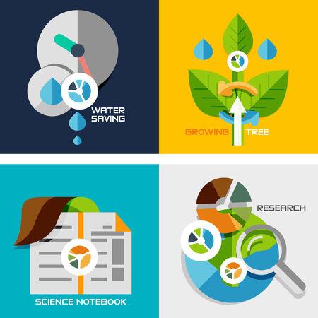crecimiento planta: Conjunto de conceptos de dise�o de planos - la investigaci�n de la naturaleza. El ahorro de agua, el crecimiento de la planta, cuaderno de ciencias, investigaci�n, Vectores