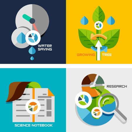 Set of flat design concepts - nature research. Water saving, plant growth, science notebook, research, Vector
