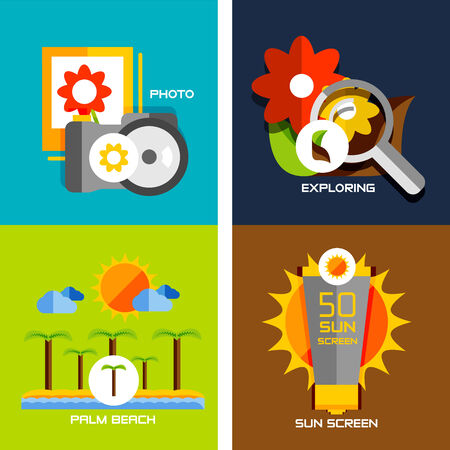 Set of flat design concepts - travel, holiday. Photo camera, gallery, exlore, palm beach, sun screen. Vector