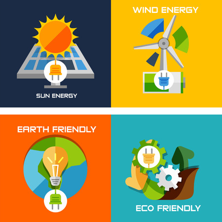 Set of flat design concepts - green energy. Solar panels, windmill, battery, light bulb, nature machine concept Vector