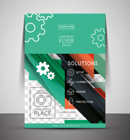 CMYK Business Corporate Flyer Template | Geometrical Design Vector