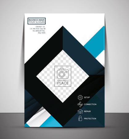 CMYK Business Corporate Flyer Template | Geometrical Design Illustration