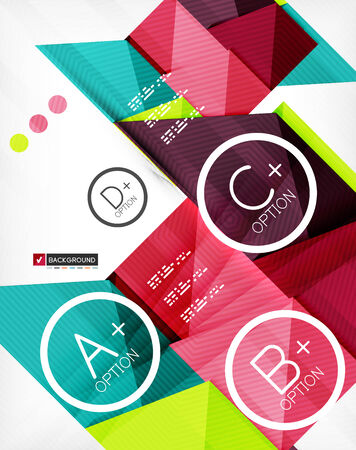 Futuristic abstract 3d infographic composition. Paper geometric shapes with options and space for text. Can be used for web banners, printed materials, business presentations Vector