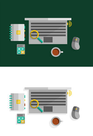 office desktop: Office desktop flat design concept. Can be used for web design, printed materials, presentations